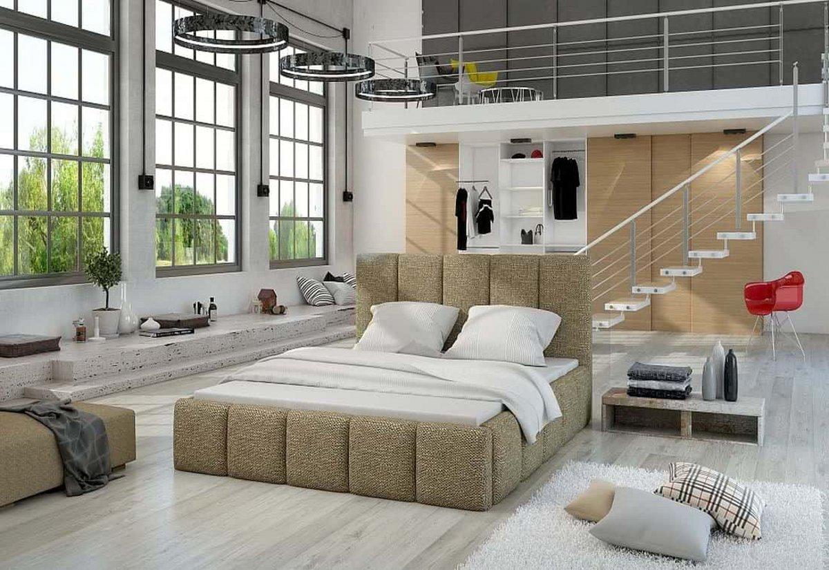 Čalouněná postel EDVIGE + Matrace s roštem HELVETIA 140x200, 140x200, berlin03