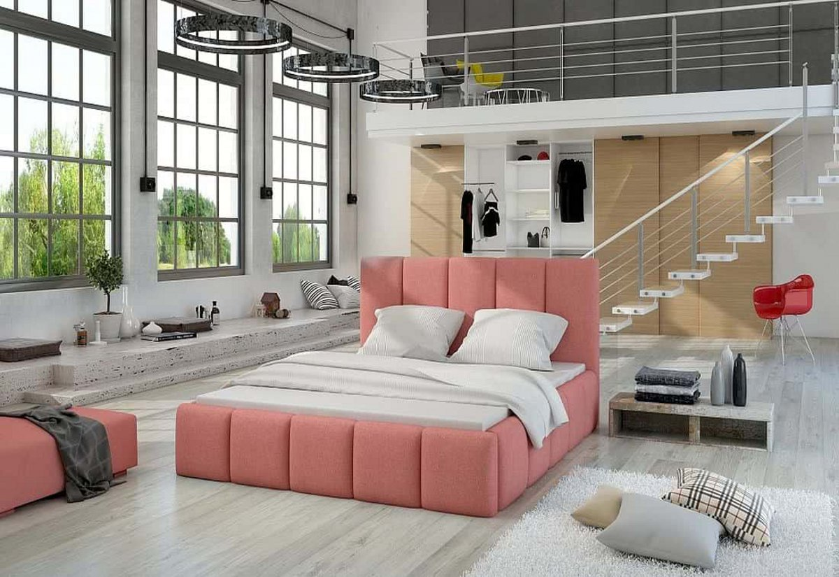 Čalouněná postel EDVIGE + Matrace s roštem HELVETIA 180x200, 180x200, ontario75