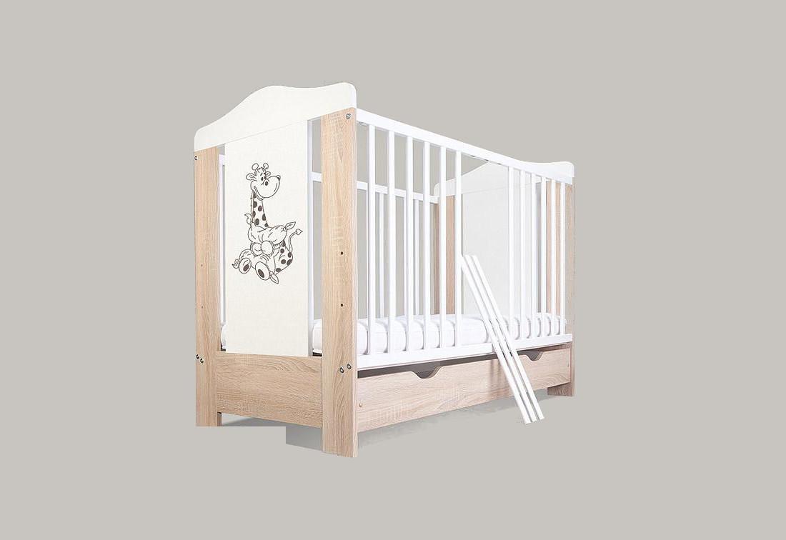 Dětská postýlka BAMBINO ŽIRAFKA, bez úložného prostoru, bílá, 120 x 60