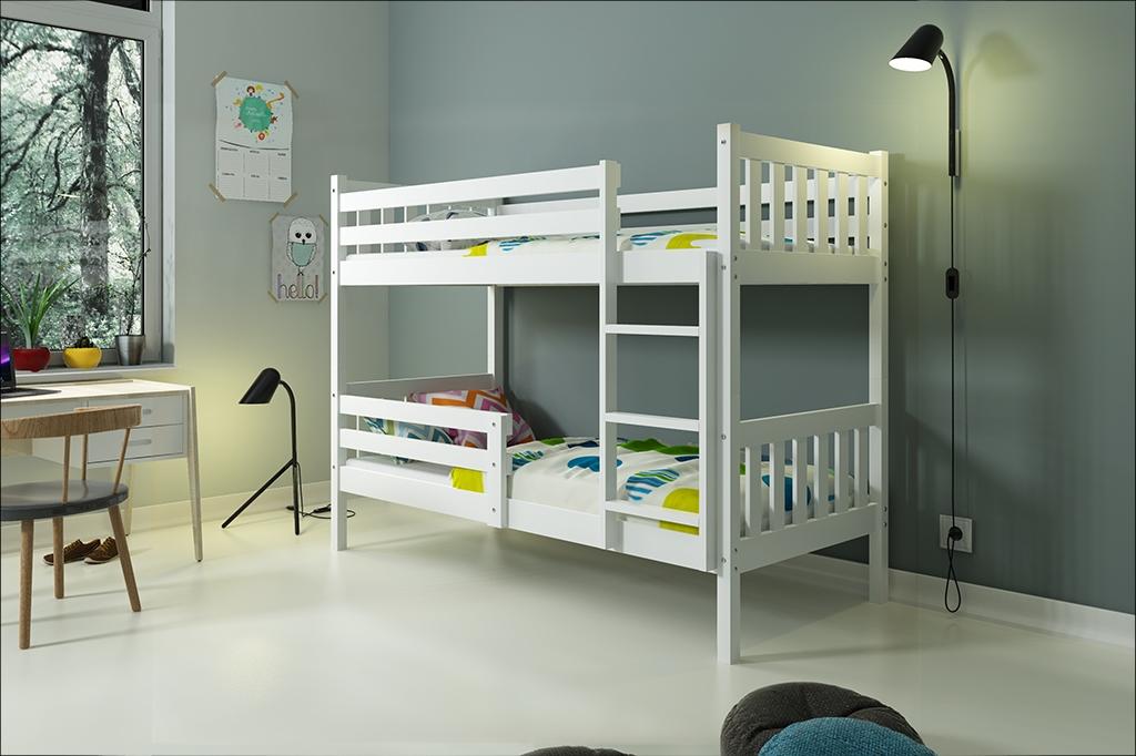 Patrová postel CARINO 2 + matrace + rošt ZDARMA, 200x90, bílý