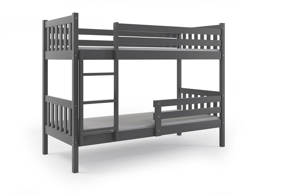 Patrová postel CARINO 2 + matrace + rošt ZDARMA, 200x90, grafit