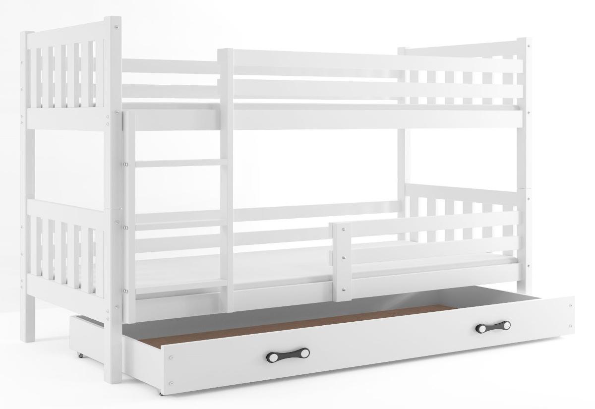 Patrová postel CARINO 2 + ÚP + matrace + rošt ZDARMA, 190x80, bílý, bílá