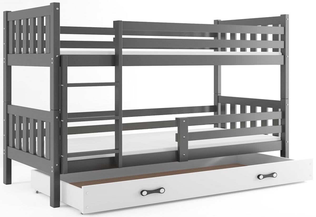 Patrová postel CARINO 2 + ÚP + matrace + rošt ZDARMA, 190x80, grafit, bílá