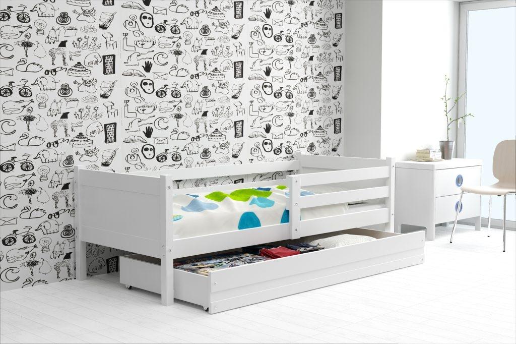 Dětská postel RINO + ÚP + matrace + rošt ZDARMA, 190x80, bílý, bílý