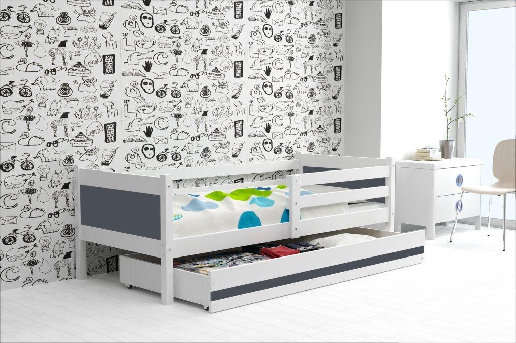 Dětská postel RINO + ÚP + matrace + rošt ZDARMA, 190x80, bílý, grafit