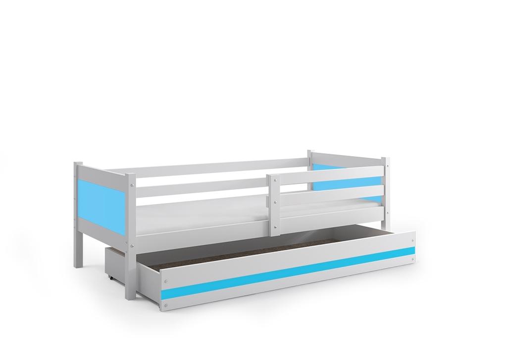 Dětská postel RINO + ÚP + matrace + rošt ZDARMA, 190x80, bílý, blankytný