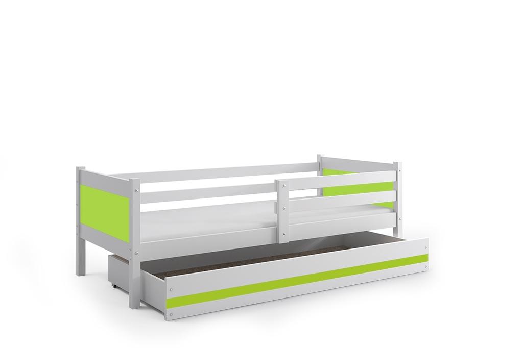 Dětská postel RINO + ÚP + matrace + rošt ZDARMA, 190x80, bílý, zelený