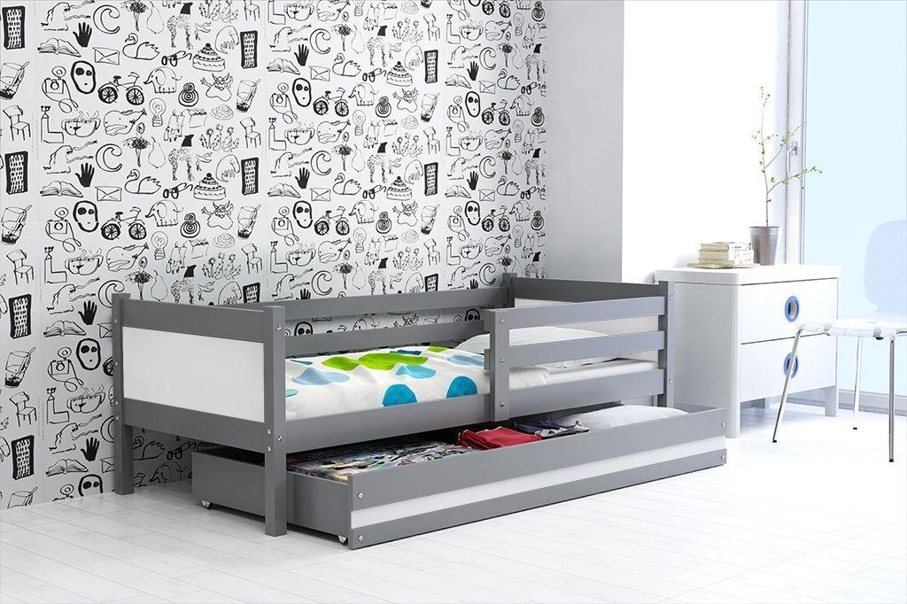 Dětská postel RINO + ÚP + matrace + rošt ZDARMA, 190x80, grafit, bílý