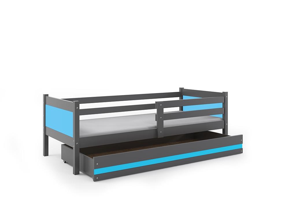 Dětská postel RINO + ÚP + matrace + rošt ZDARMA, 190x80, grafit, blankytný