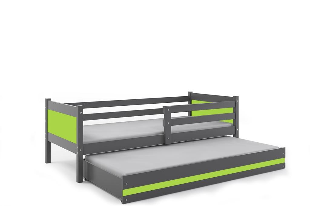 Dětská postel RINO 2 + matrace + rošt ZDARMA, 190x80, grafit, zelený