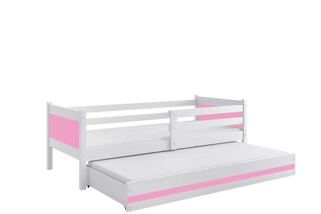 Dětská postel RINO 2 + matrace + rošt ZDARMA, 190x80, bílý, růžový