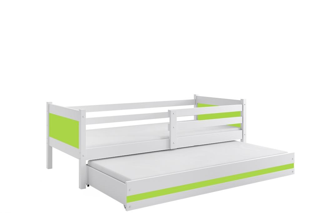 Dětská postel RINO 2 + matrace + rošt ZDARMA, 190x80, bílý, zelený