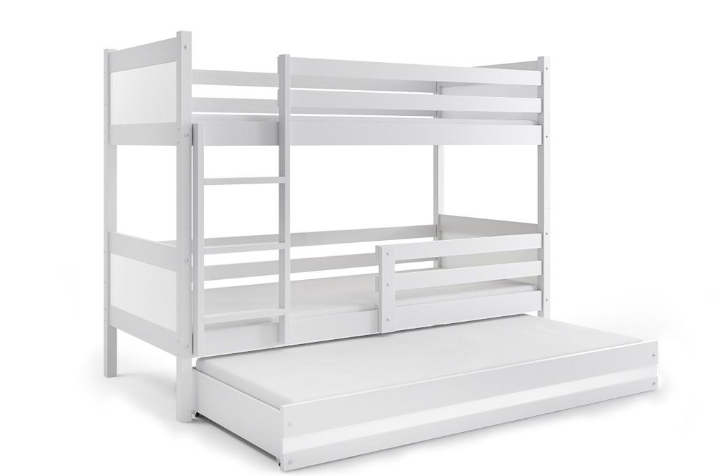 Patrová postel RINO 3 + matrace + rošt ZDARMA, 190 x 80, bílý, bílý