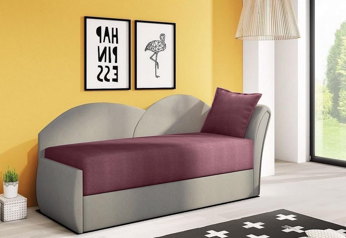 Rozkládací pohovka AGA, 200x80x75, fialová + šedá (alova23/alova10), pravá