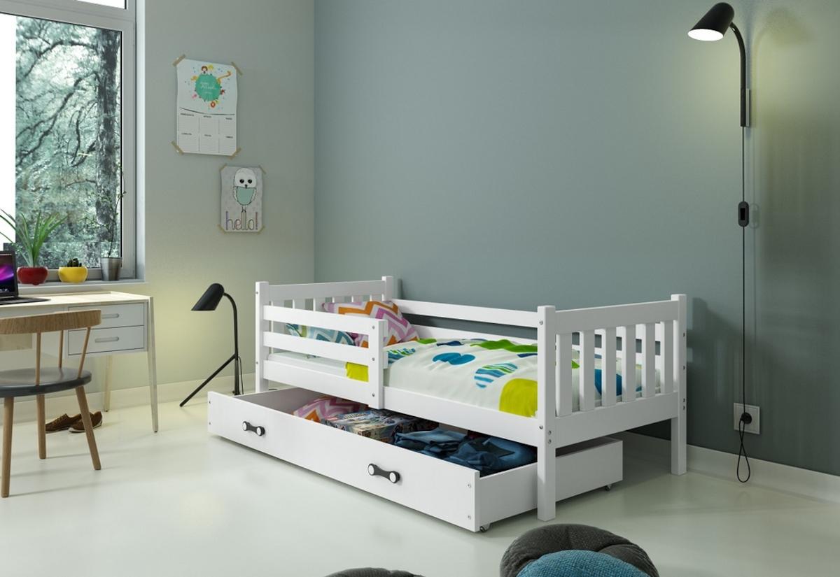 Dětská postel CARINO + ÚP + matrace + rošt ZDARMA, 190x80, bílý