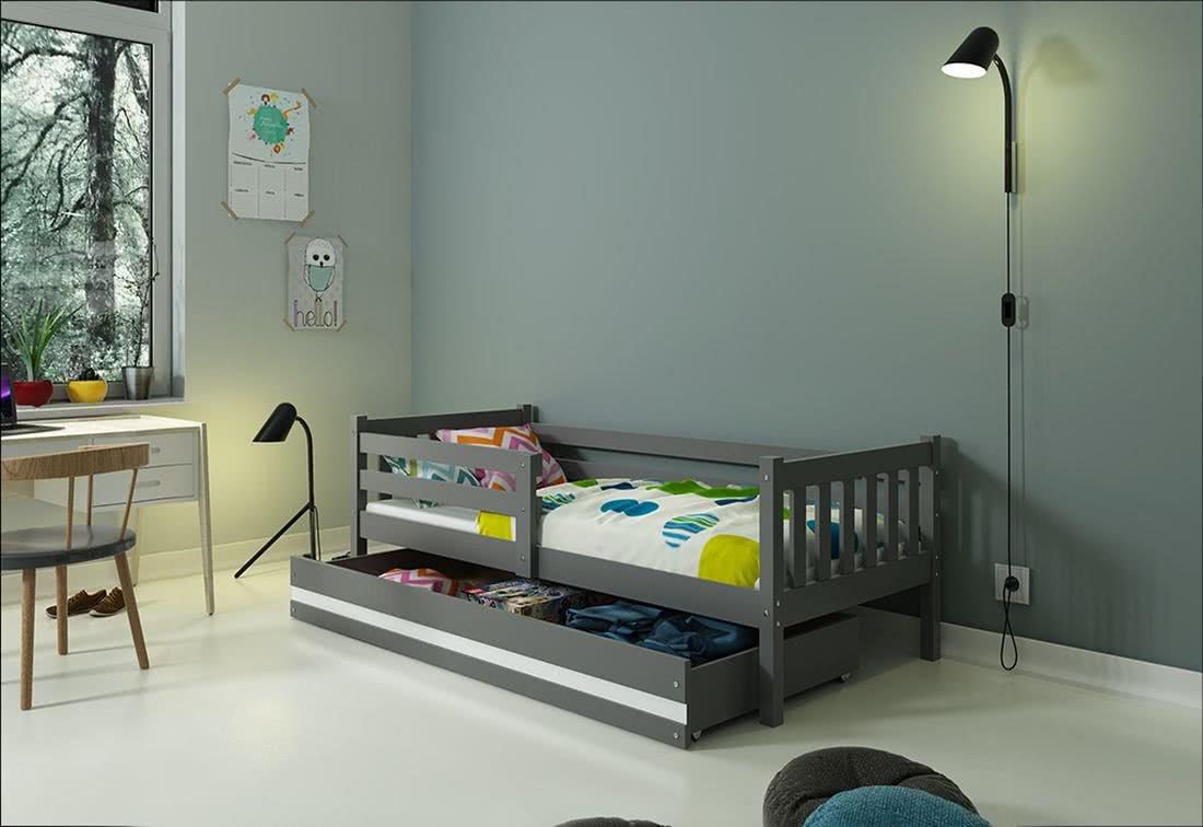 Dětská postel CARINO + ÚP + matrace + rošt ZDARMA, 190x80, grafit