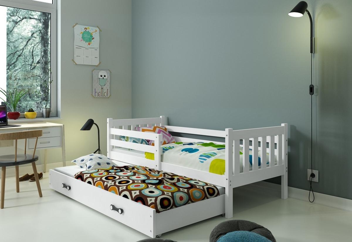 Dětská postel CARINO 2 + matrace + rošt ZDARMA, 190x80, bílý