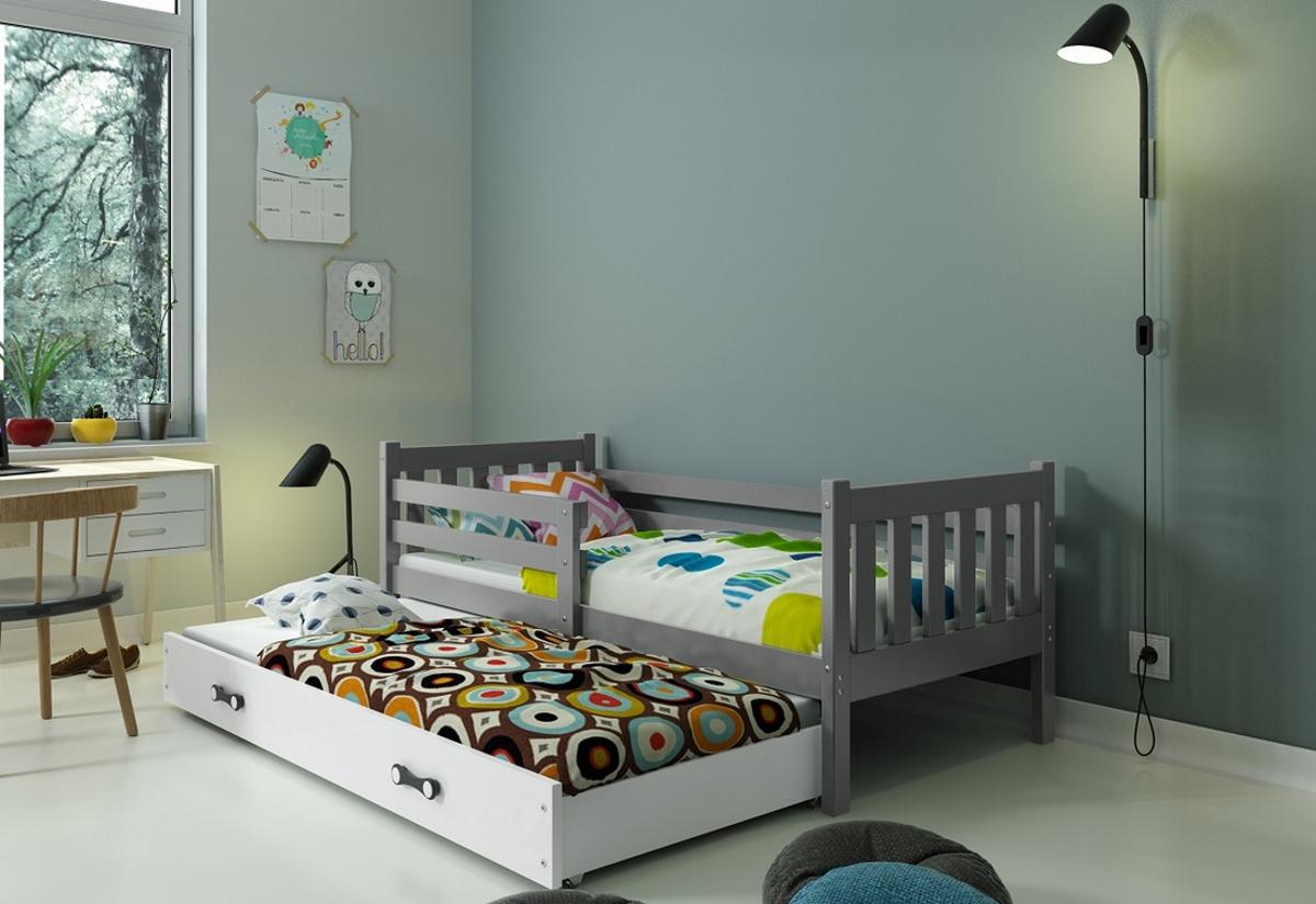 Dětská postel CARINO 2 + matrace + rošt ZDARMA, 190x80, grafit