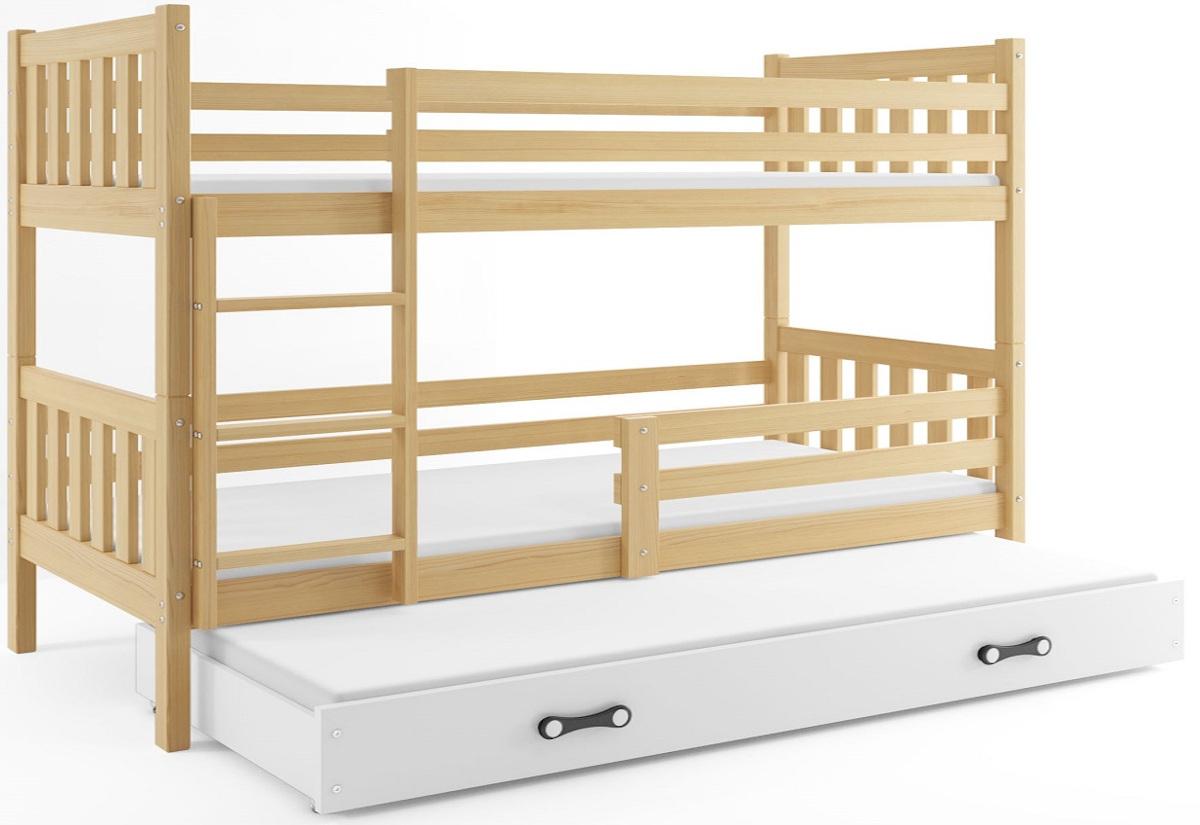 Patrová postel CARINO 3 + matrace + rošt ZDARMA, 190x80, borovice