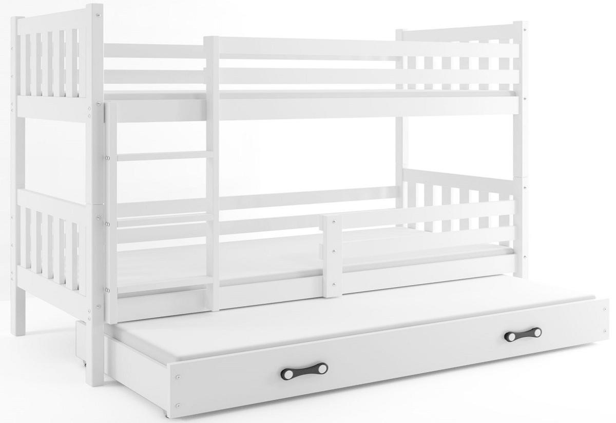 Patrová postel CARINO 3 + matrace + rošt ZDARMA, 190x80, bílá