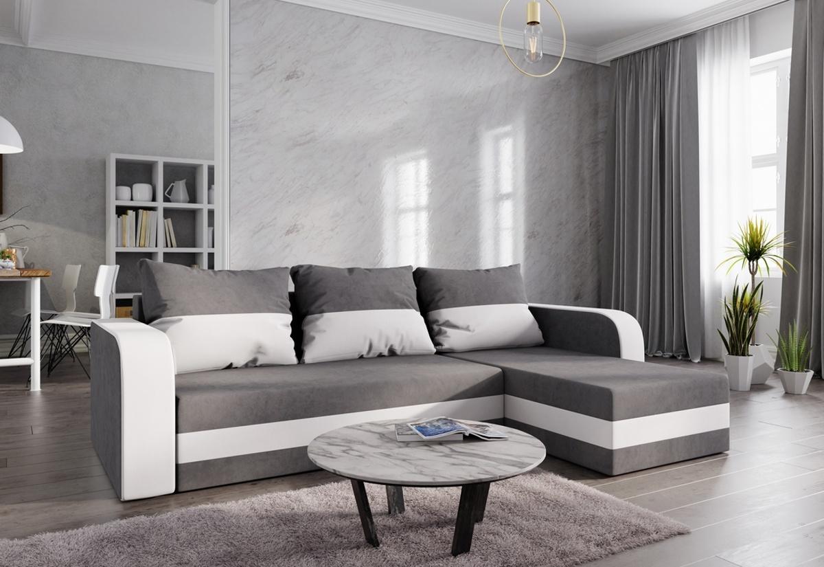 Rohová rozkládací sedačka HEWLET, 237x85x140, šedá/bílá, mikrofáze50/31
