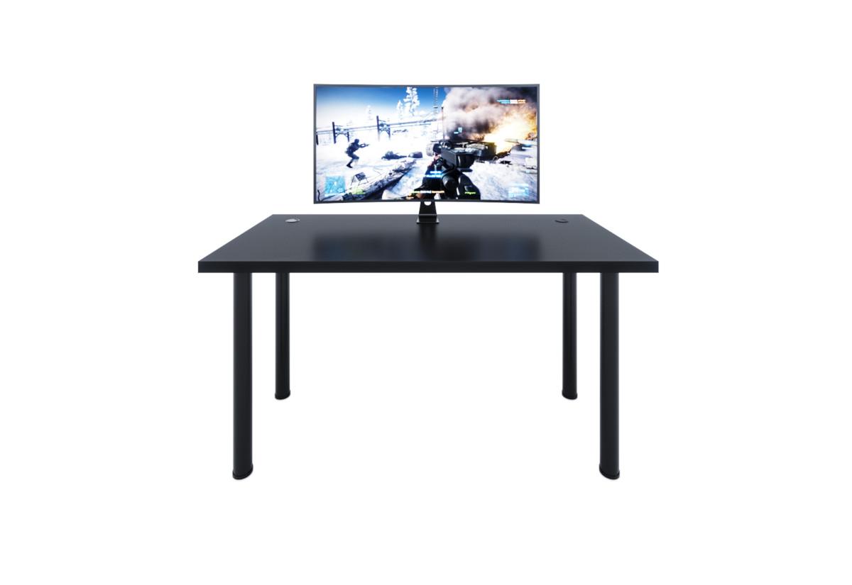 Počítačový herní stůl X1, 135x73-76x65, černá/černé nohy + USB HUB