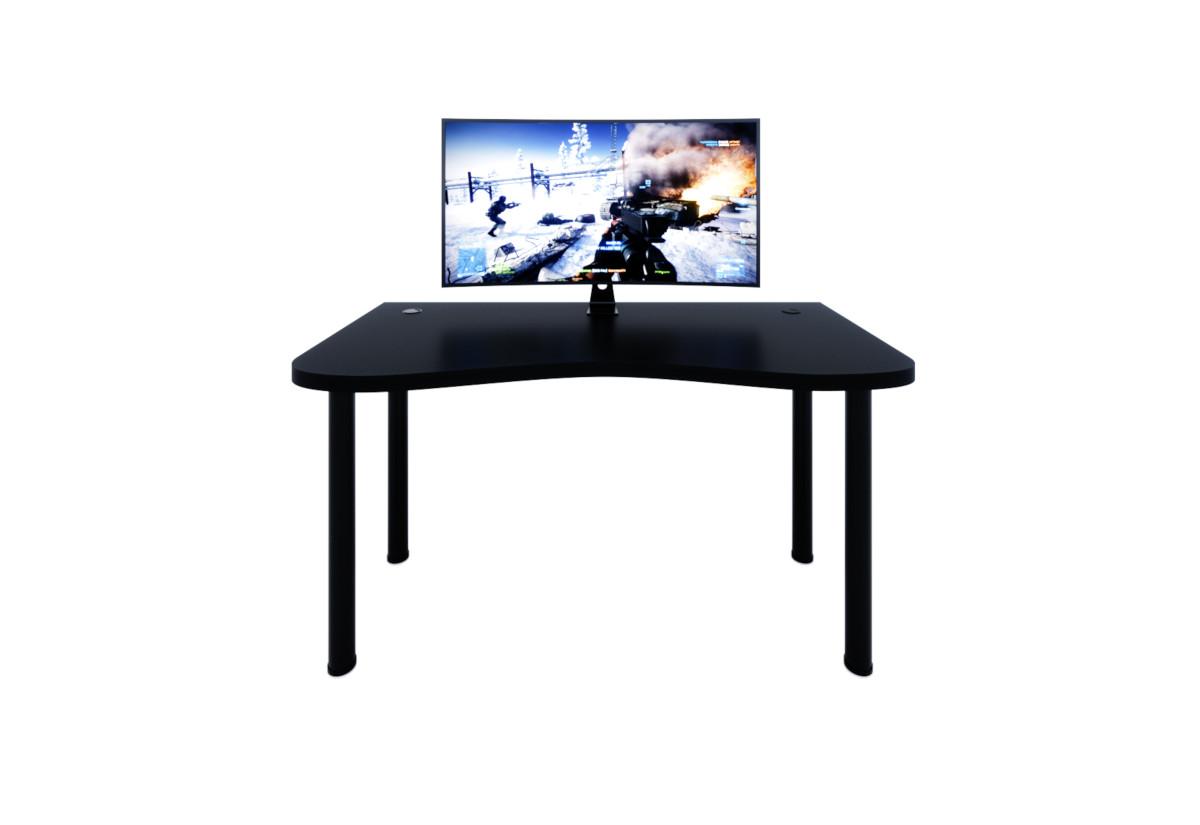 Počítačový herní stůl Y1, 135x73-76x65, černá/černé nohy + USB HUB
