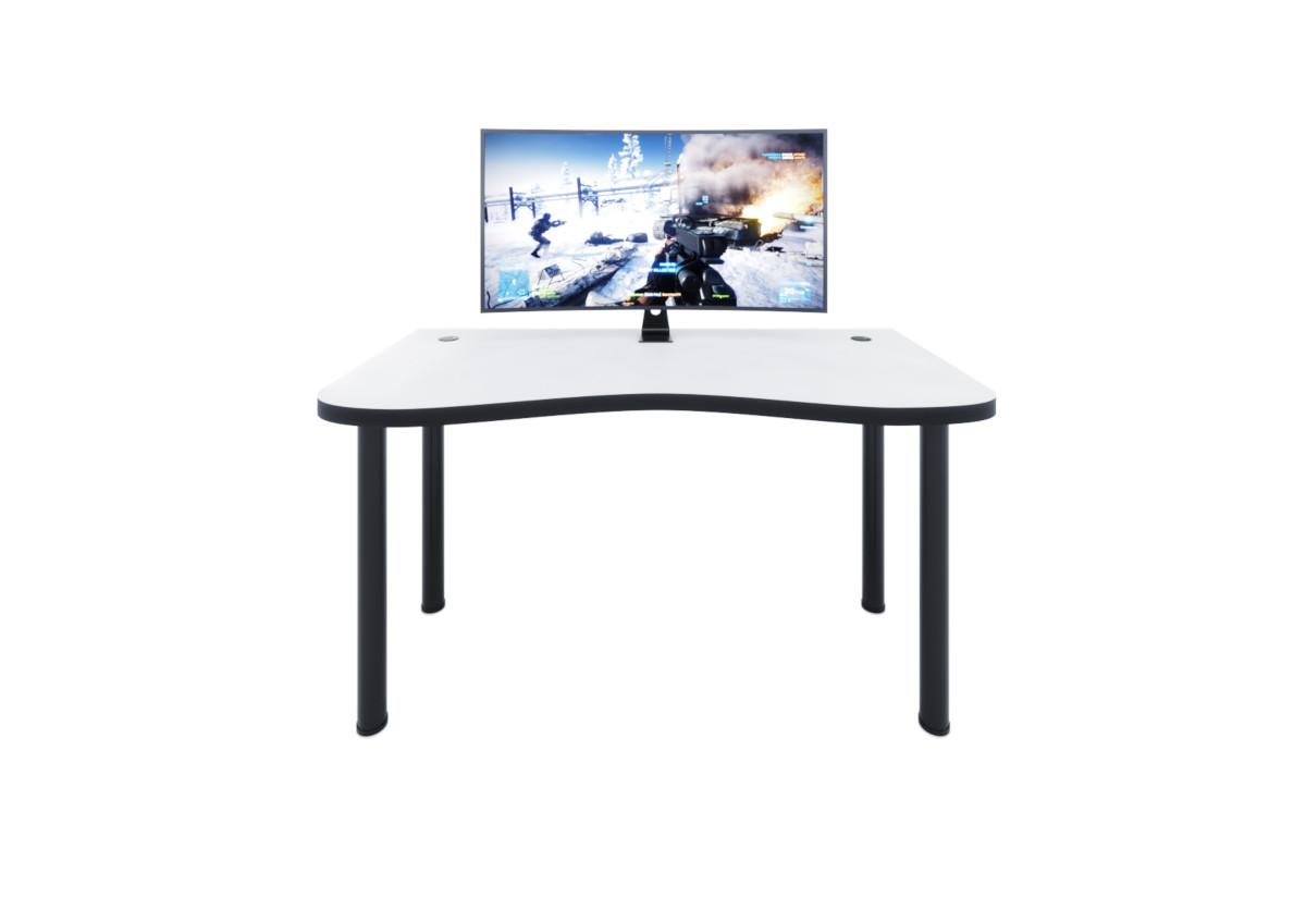Počítačový herní stůl Y1, 135x73-76x65, bílá/černé nohy + USB HUB