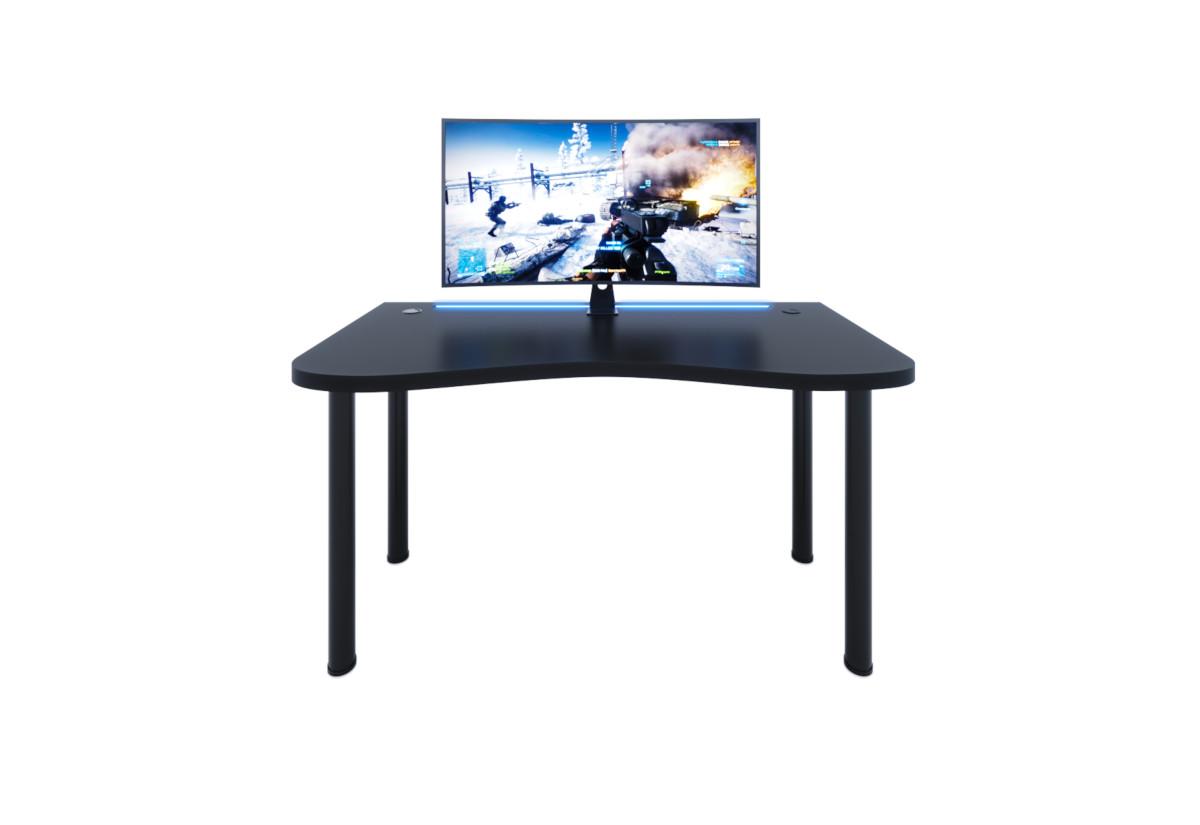 Počítačový herní stůl Y2 s LED, 135x73-76x65, černá/černé nohy + USB HUB