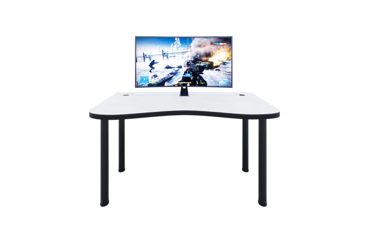 Počítačový herní stůl Y2 s LED, 135x73-76x65, bílá/černé nohy + USB HUB