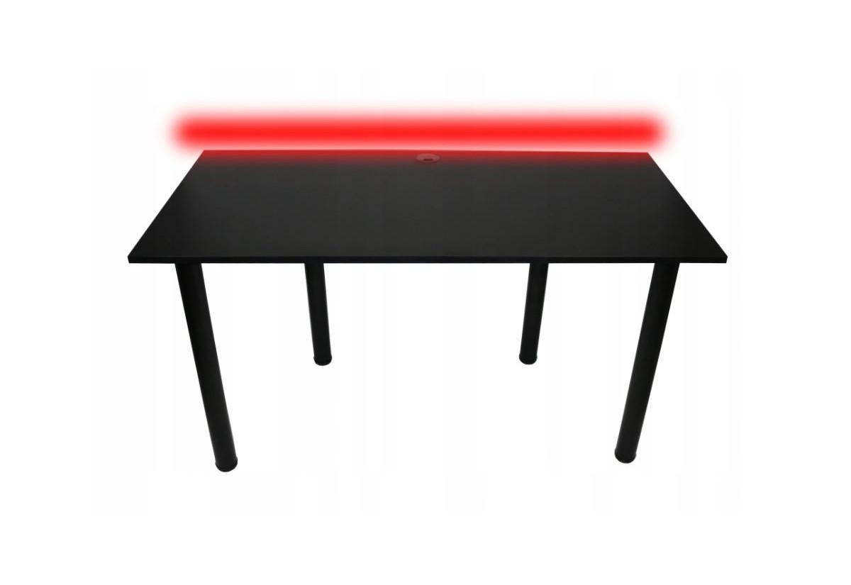 Počítačový herní stůl BIG B2 s LED, 160x73-76x80, černá/černé nohy + USB HUB