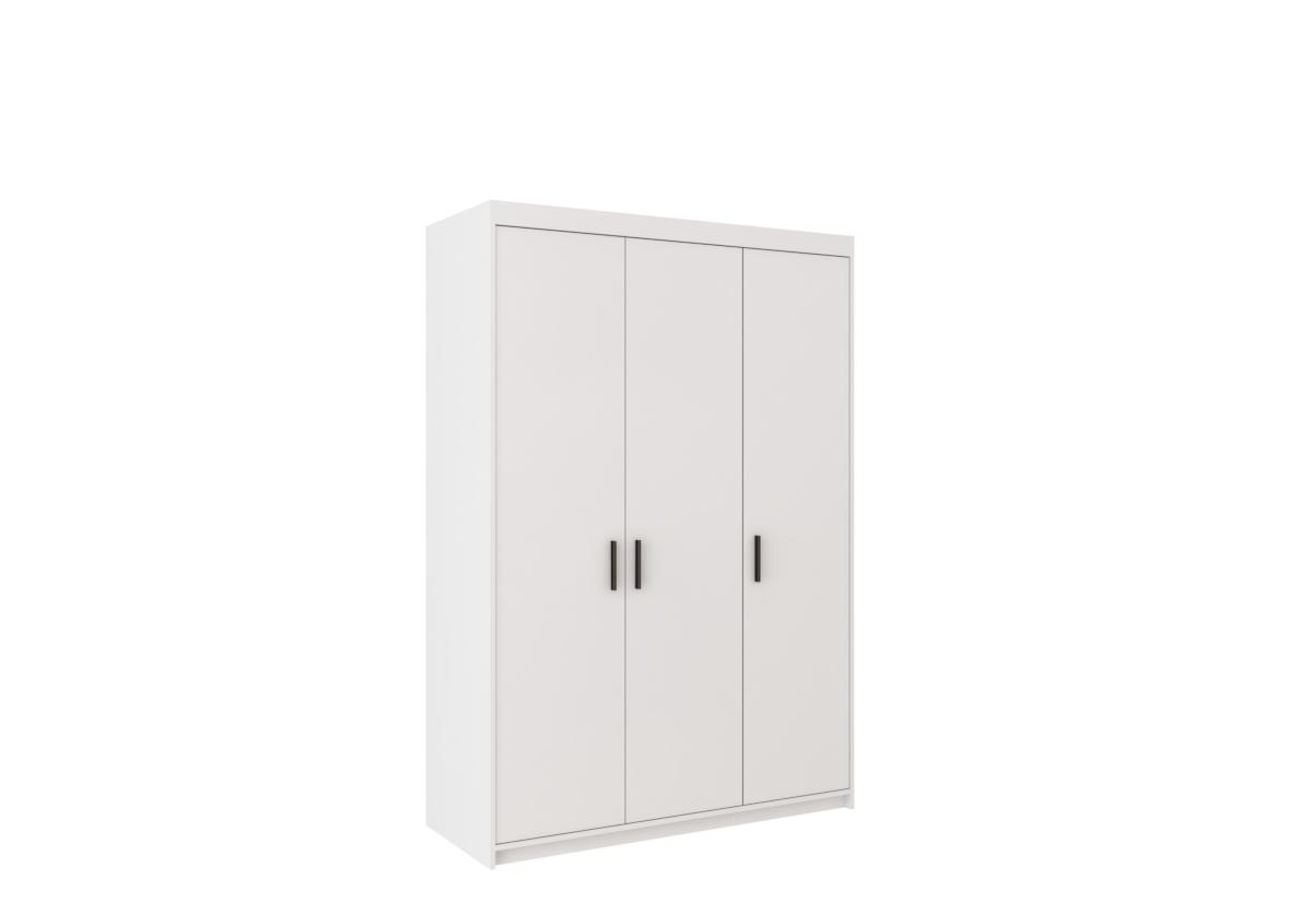 Šatní skříň ELENA 3D, 190x133x53, bílá + nástavec