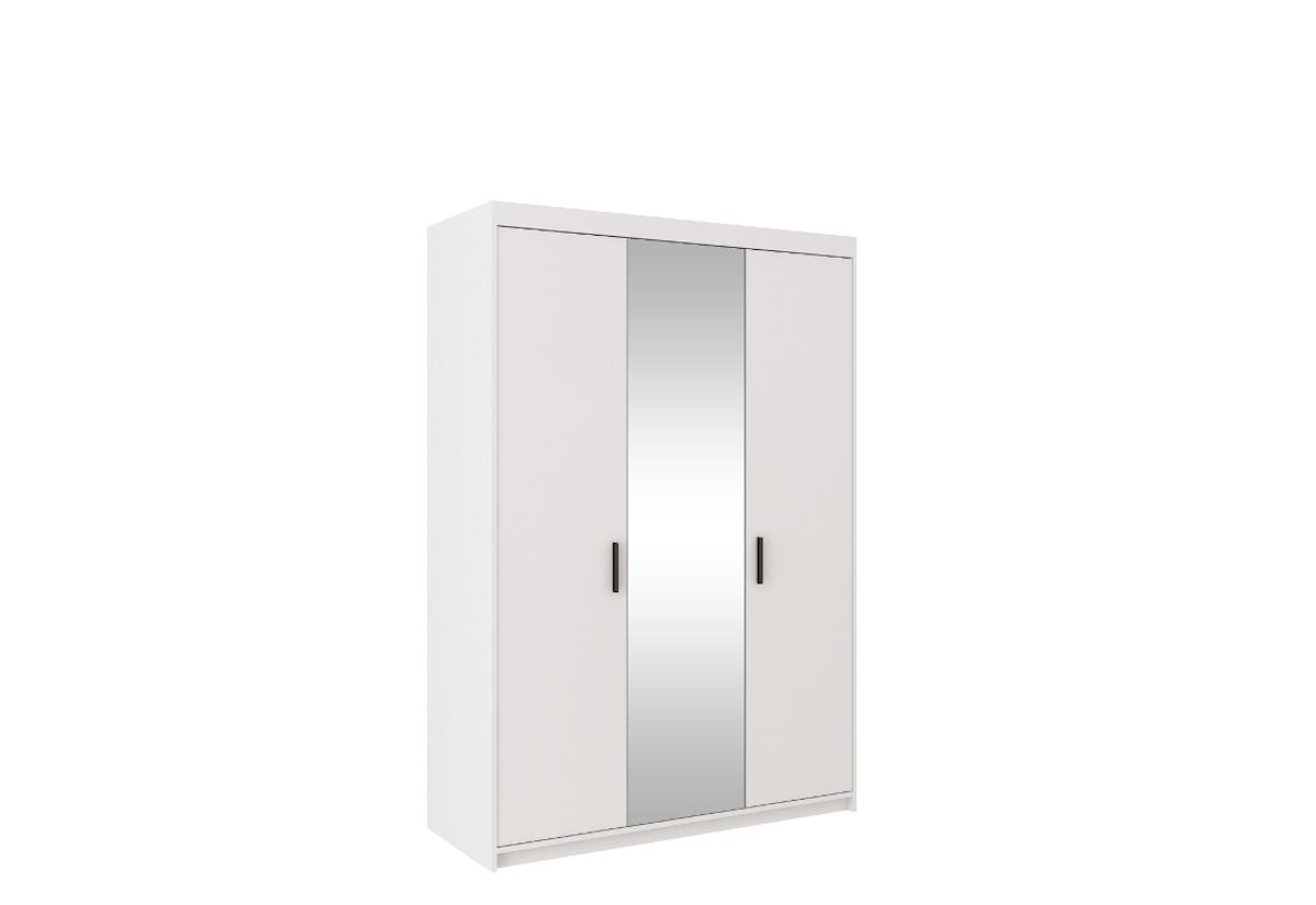 Šatní skříň ELENA 3D + zrcadlo + nástavec, 190x133x53, bílá
