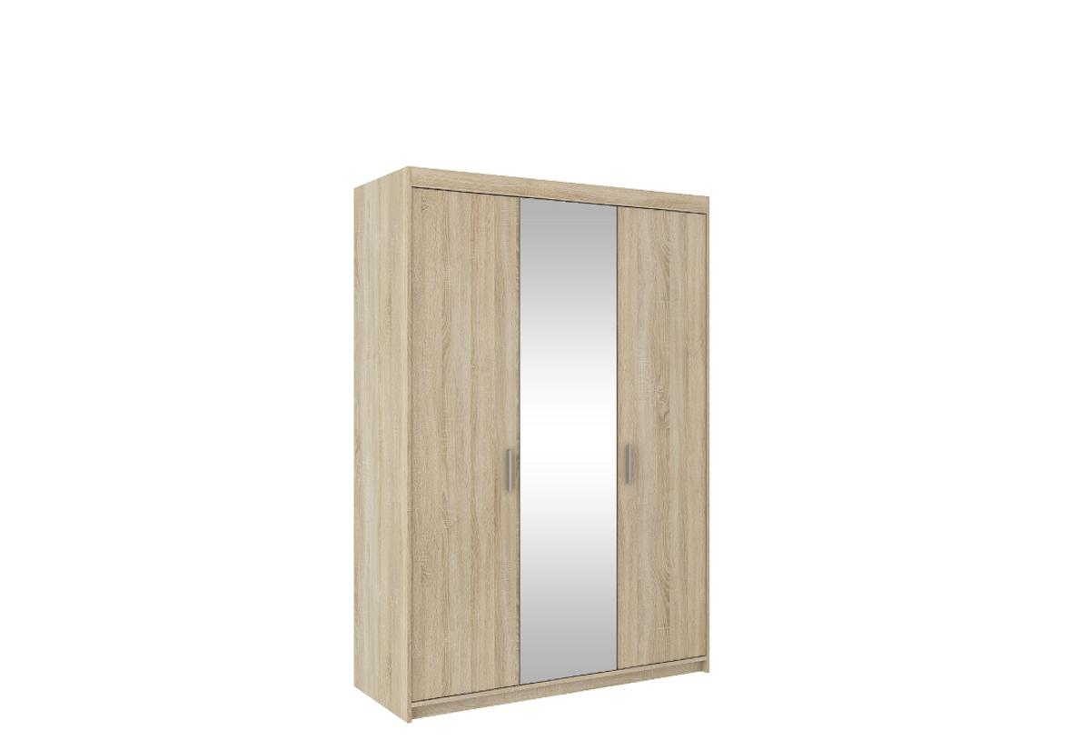 Šatní skříň ELENA 3D + zrcadlo + nástavec, 190x133x53, dub sonoma