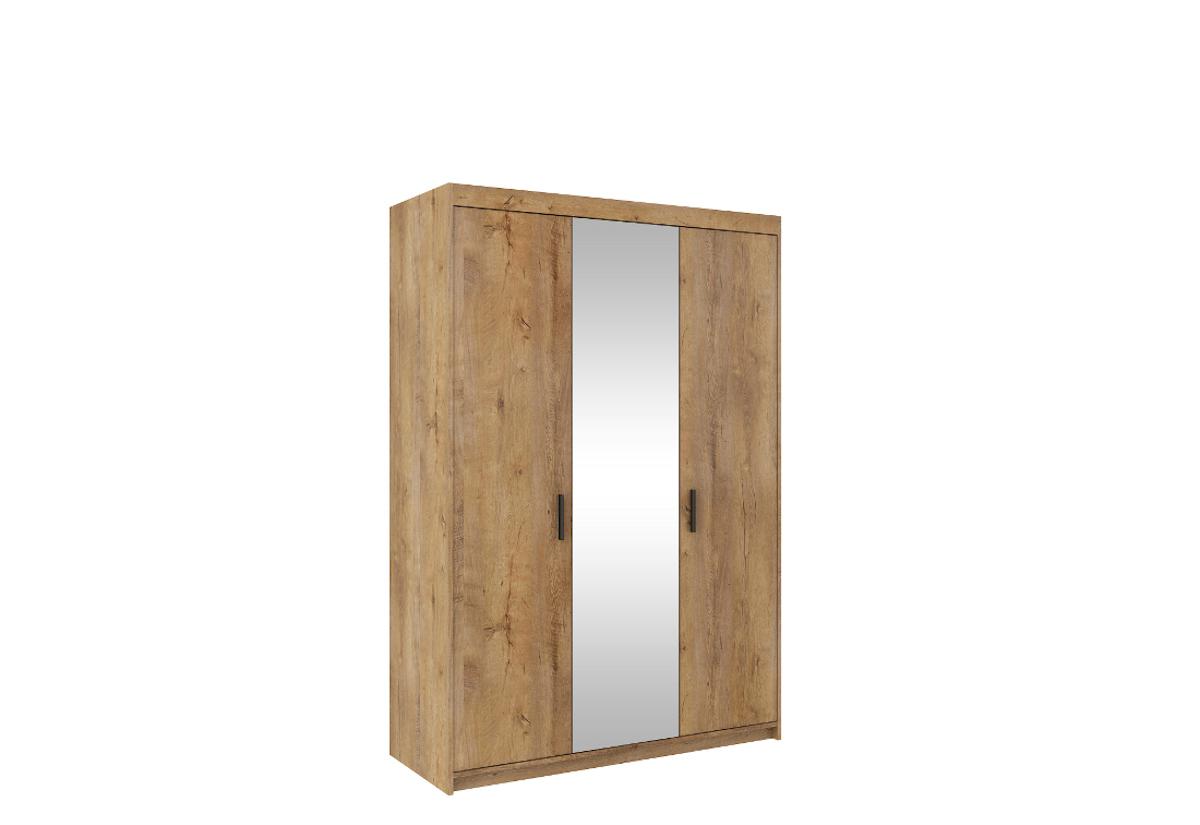 Šatní skříň ELENA 3D + zrcadlo + nástavec, 190x133x53, dub lefkas