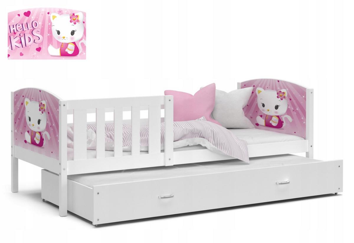 Dětská postel TAMI P2 color s potiskem, 184x80, bílá/vzor 08