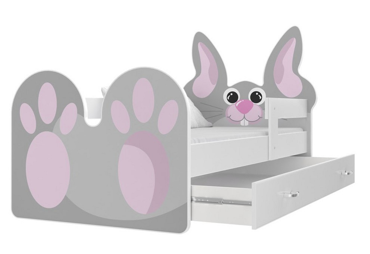 Dětská postel KRÁLÍK, 140x80, bílá/VZOR 01 růžový