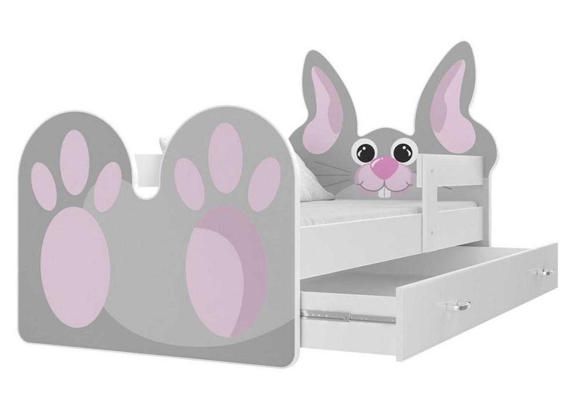 Dětská postel KRÁLÍK, 160x80, bílá/VZOR 01 růžový