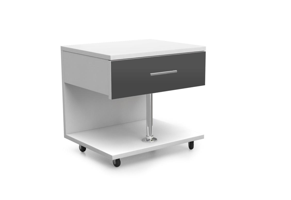 Dětský noční stolek RAJ, bílá/šedá lesk
