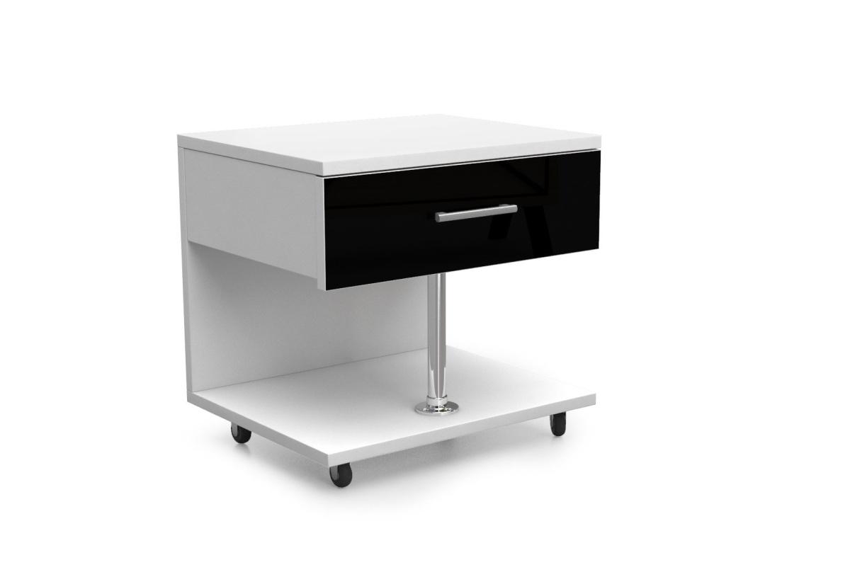 Dětský noční stolek RAJ, bílá/černá lesk
