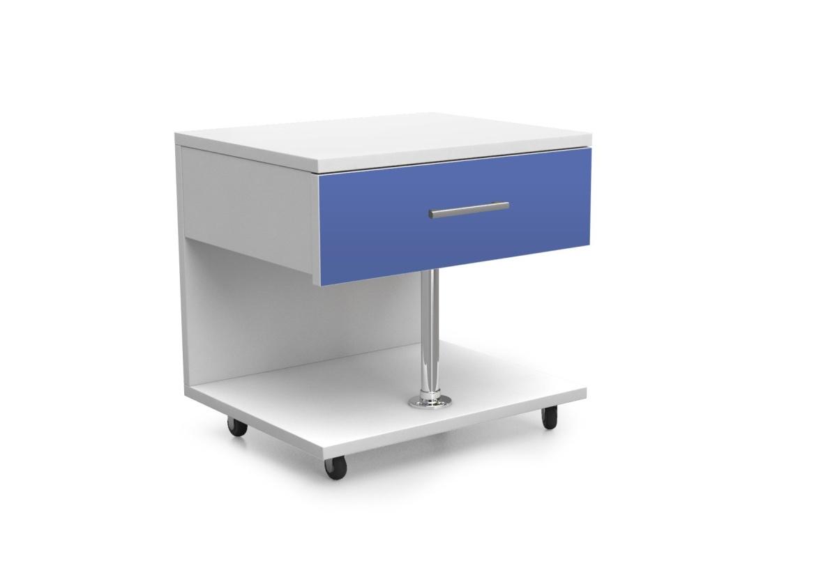 Dětský noční stolek RAJ, bílá/modrá lesk