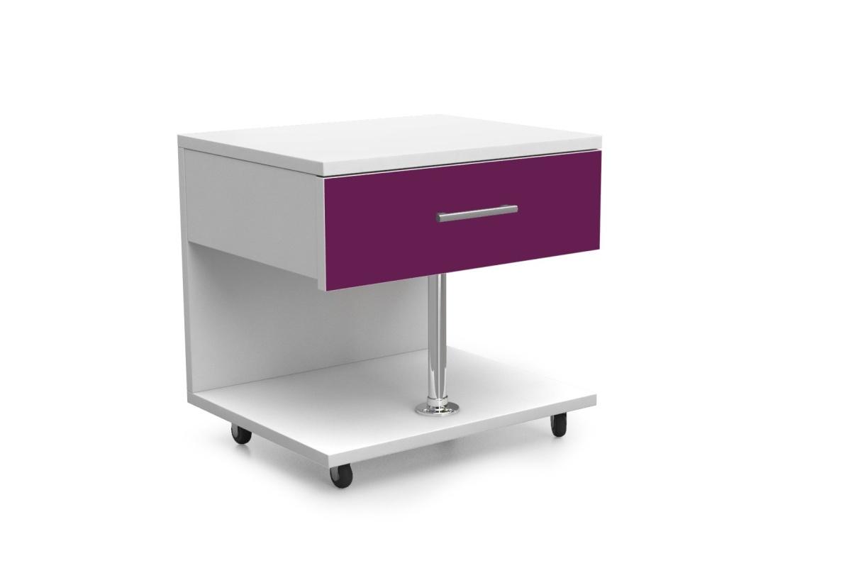 Dětský noční stolek RAJ, bílá/fialová lesk