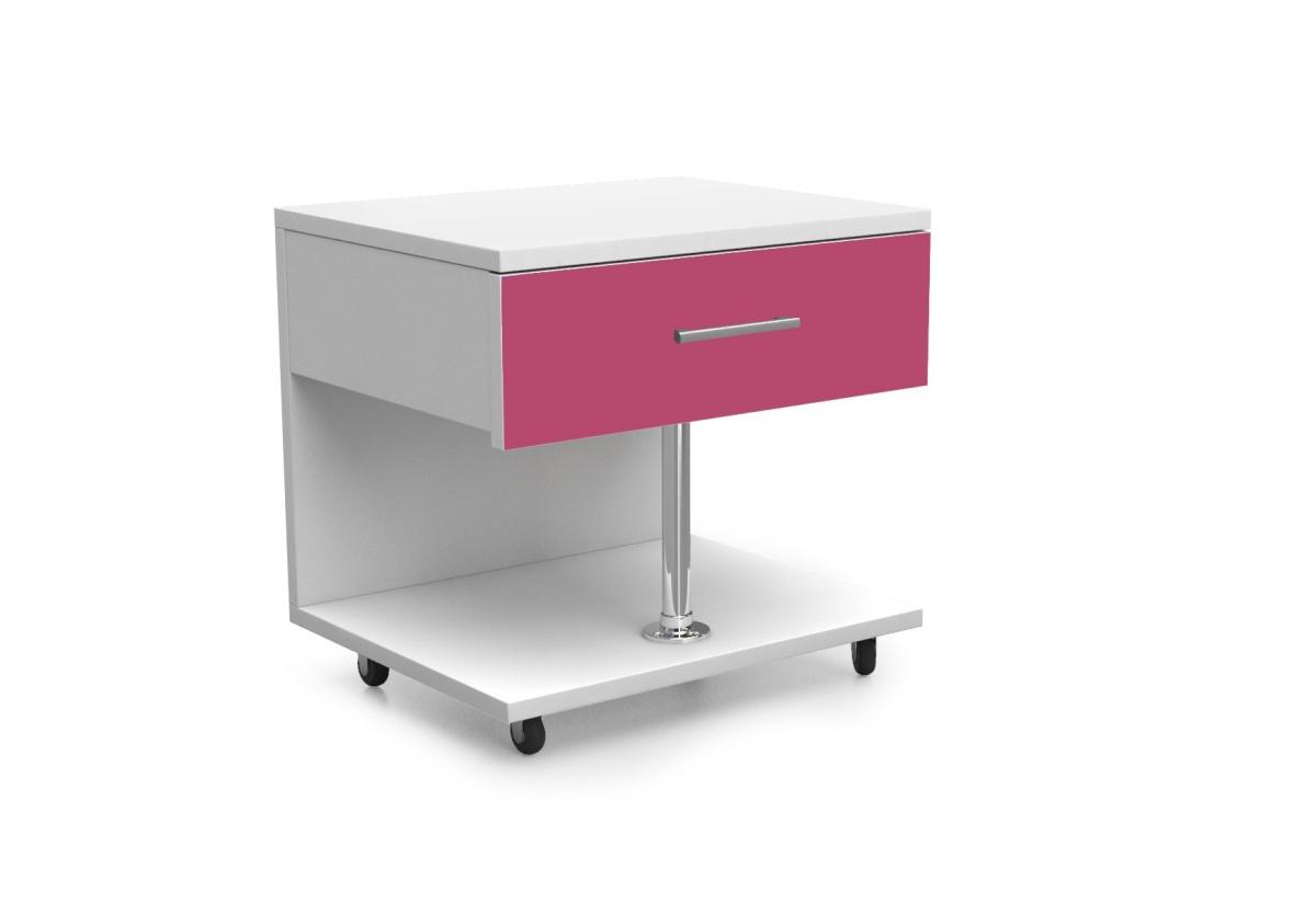 Dětský noční stolek RAJ, bílá/růžová lesk