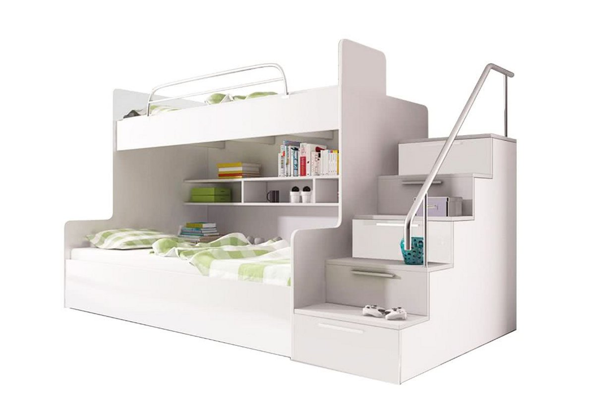 Dětská patrová postel RAJ 2, schody vpravo, bílá/bílá lesk