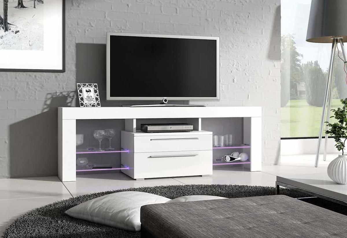TV stolek HAVANA Plus, bílá/bílá lesk