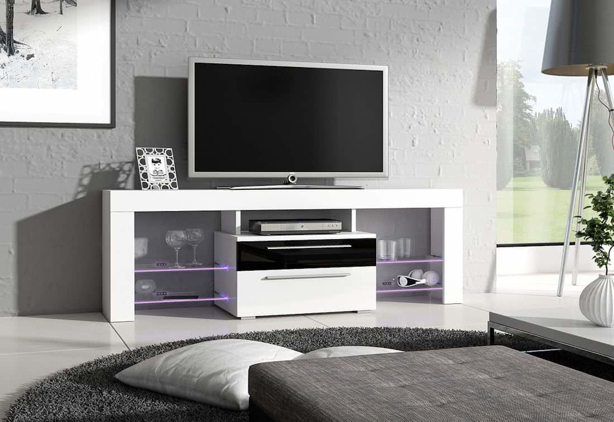 TV stolek HAVANA Plus, bílá/černá lesk