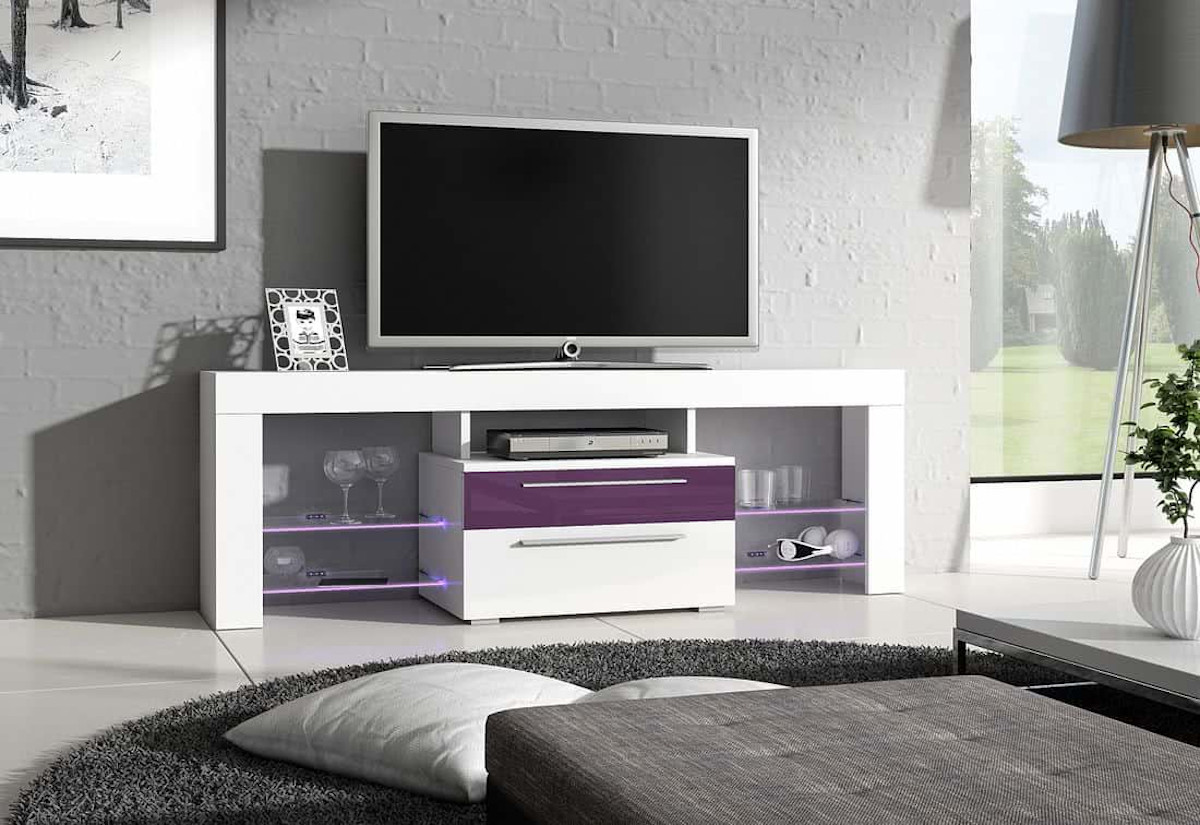 TV stolek HAVANA Plus, bílá/fialová lesk