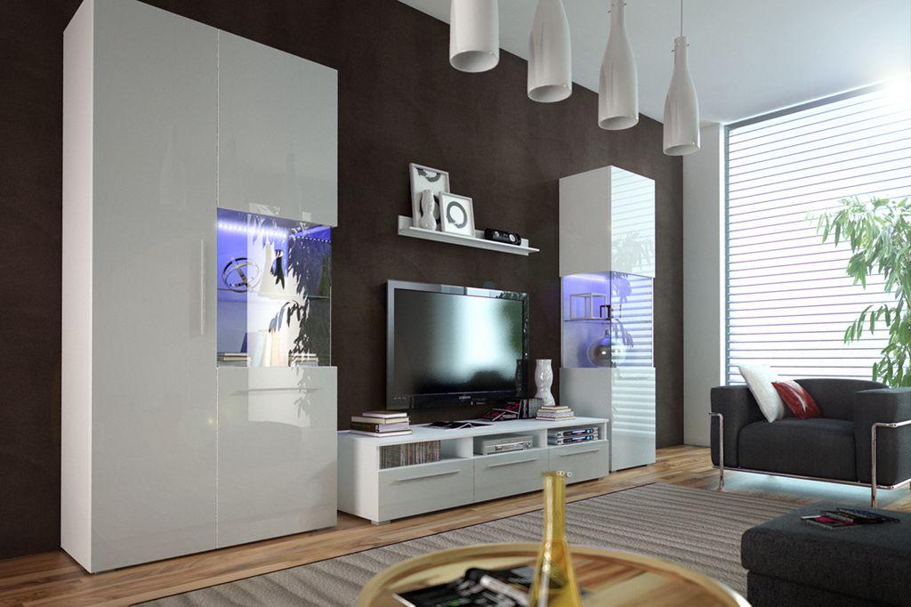Obývací stěna NICEA I, bílá/bílá lesk
