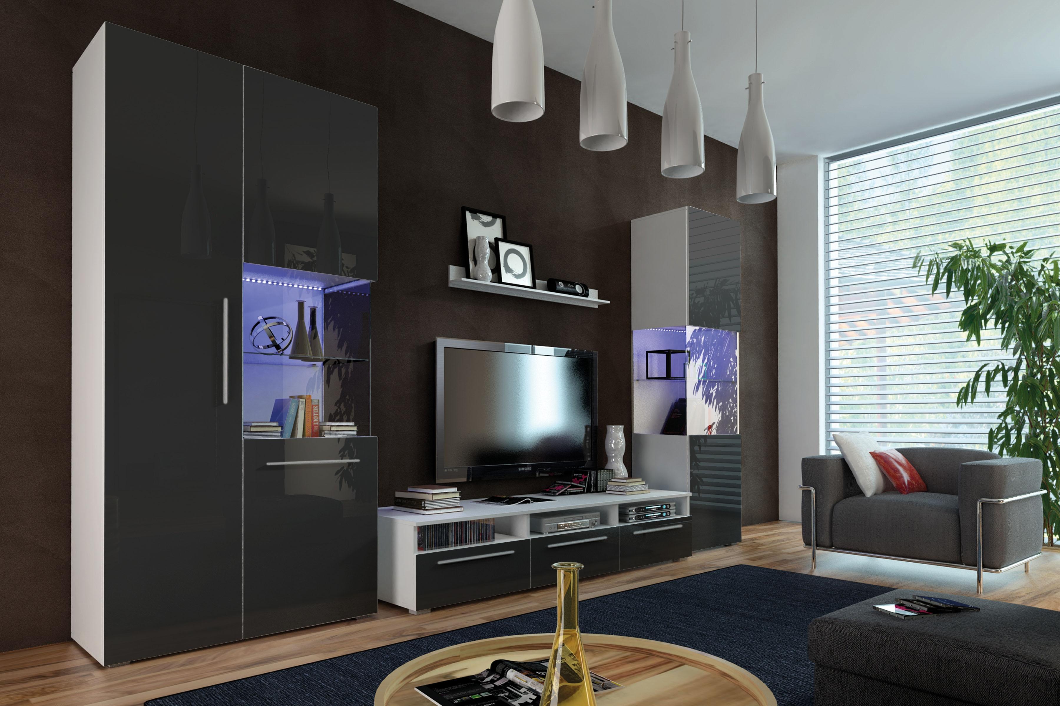 Obývací stěna NICEA I, bílá/černá lesk
