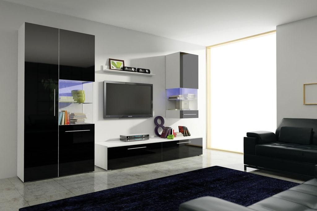 Obývací stěna NICEA II, bílá/černá lesk